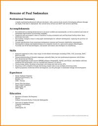 Resume Overview Statement Examples Of Resumes Summary Finance
