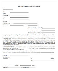 Lien Release Form Awesome Subcontractor Lien Release Form Sample Forms