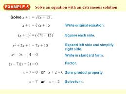 extraneous math solve an equation with an extraneous solution extraneous geometry definition