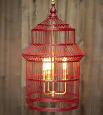 vintage red wood birdcage chandelier with 3 light brusshed brass