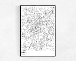 paris city map print city map poster paris map modern intended for map of paris wall