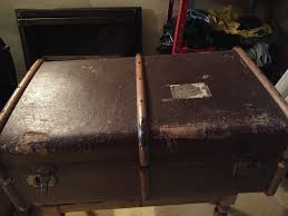 old wooden banded suitcase travel trunk retro coffee table
