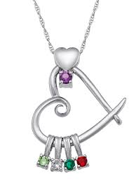 personalized family jewelry birthstone mother s heart pendant 20 available in sterling silver 14k gold over silver