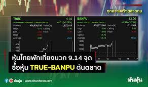 หุ้นไทยพักเที่ยงบวก 9.14 จุด ซื้อหุ้น TRUE-BANPU ดันตลาด
