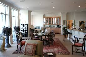 Red Carpet And Vintage Table And Chairs Astonishing Open Floor Plan Kitchen  Living Room Ideas Plan ...