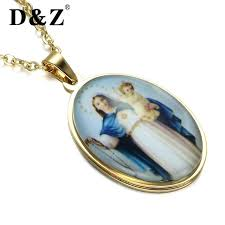 mary pendants dz gold color necklace stainless steel virgin necklaces for catholic jewelry