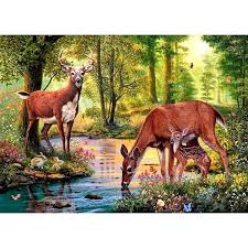 <b>Full</b> Square Drill 5D DIY Diamond Embroidery Forest <b>Deer</b> Family ...
