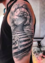 All full arm temp tattoos are available to buy. Illusions Black And Grey Tattoo Stair To Heavens Tattoo Artist Done By Sun Uhren Kompas Tatto Himmels Tattoo Schwarze Und Graue Tattoos Tatowierungen