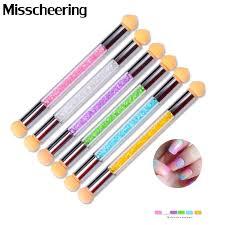 1 Ks Hot Uv Gel Malování Nehty Gradient Kartáč Pen Dvoubarevné Akryl Nehty Umění Sponge Glitter Prášek Picking Manicure Tool