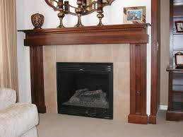brick fireplace mantel makeover wooden