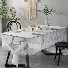 white lace tablecloth for wedding romantic fl pattern hollow table covers simple hotel party banquet table