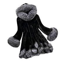 Sunfei Women Long Sleeve Parka Outwear Fox Fur Coat Plus Size
