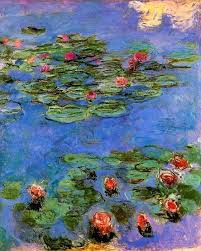 3 red water lilies claude monet