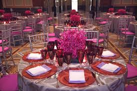 The party's pink and purple color scheme extended upstairs to the dinner  for 105 guests.