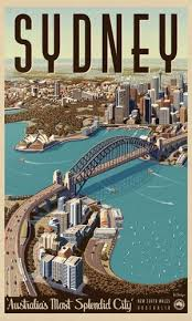 pop art map of australia capital sydney classic vintage retro