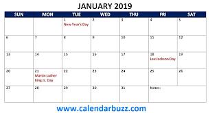 2019 Calendar Printable Template Free 2019 Holidays Printable Calendar Monthly Templates Calendarbuzz