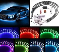 Car Led Light Strips Walmart 7 Color 4pcs Led Strip Under Car Tube Underglow Underbody System Neon Lights Kit 90cmx120cm Walmart Com