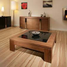 sentinel modern designer coffee table large square walnut with black glass 71e