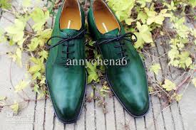dress shoes oxfords shoes men s shoes genuine leather custom handmade men shoes color green hot hd 0119
