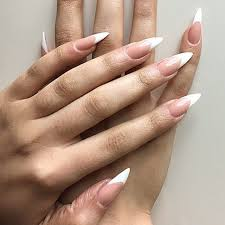 White Long Stiletto Nails Shape Simple Mamka Nehty Design Nehtů