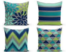 Outdoor Pillows Navy Teal Grey Pear Green Lucite Green