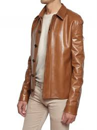 lyst dior homme nappa leather jacket in brown for men
