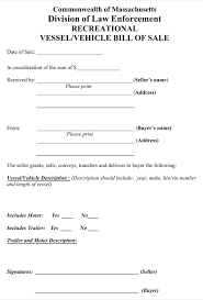 Free Forms Bill Of Sale Download Massachusetts Recreational Vessel Vehicle Bill Of