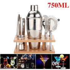 750ml stainless steel cocktail shaker mixer bar tool set martini maker pro kit