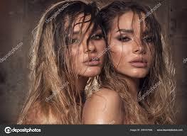 Portrait Sensual Twins Ladies Long Wet Hair Girls Glamour Makeup