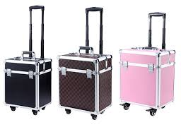 3 colors aluminum rolling makeup case cosmetic train box trolley storage beayt box with tray