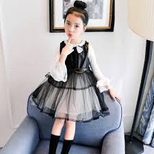 girls faux leather dress long sleeve t shirt 2 pieces clothing sets 2018 autumn eozx60669