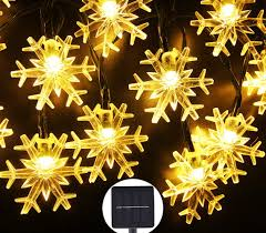 Snowflake Solar Christmas Lights Inngree Solar Fairy String Lights 20 Ft 30 Led 8 Modes Solar Snowflake Waterproof Power Christmas Lights For Home Outdoor Garden Holiday Party Patio