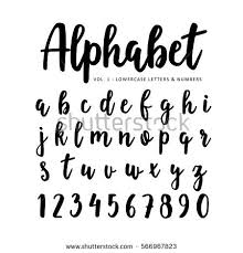 brush lettering alphabet. hand drawn vector alphabet, font. isolated letters and numbers written with marker or ink brush lettering alphabet a