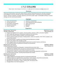 Gallery Of Maintenance Technician Resume Example Myperfectresume