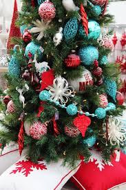 aqua and red christmas tree decor