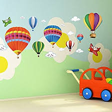>amazon amaonm removable creative 3d hot air balloon aircraft  amaonm removable creative 3d hot air balloon aircraft and smile clouds wall decals kids room wall