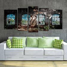 wall art picture canvas paintings home decor abandoned industrial interior with 5 panels bright light ruin on wall art panels interior with wall art picture canvas paintings home decor abandoned industrial