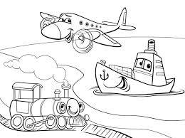 Vliegtuig Schip Trein Cartoon Kleurplaat Vector Premium Download