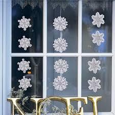 Fensterbilder Set Fensterdeko Schneeflocken Design Für Winter Und Weihnachten In Glitzer Selbstklebe