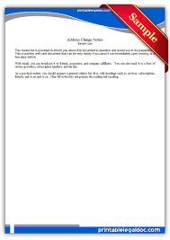 Printable Sample Address Change Notice Form Legal On Employee Tree ...