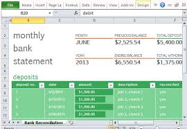 Bank Reconciliation Chart Monthly Bank Reconciliation Template For Excel