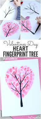 Valentines Day Heart Fingerprint Tree Craft