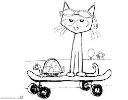 Pete The Cat Coloring Page Free Printable Pages Outstanding Inside