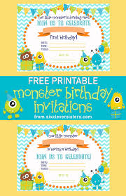 Print Out Birthday Invitations FREE PRINTABLE Monster Birthday Invitations Six Clever Sisters 93