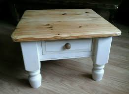 chunky solid pine coffee side table painted in antique white