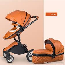 2019 high quality pu leather baby stroller with independent sleeping basket 2 in 1 baby cart 4 wheels pushchair egg shaped from babycoming