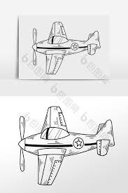 手绘黑色线描玩具飞机插画psd素材 包图网