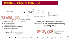 m mo 𝟐 p po 2 doubling time formula y
