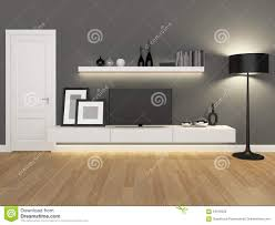 Living Room Tv Stand Grey Living Room With Tv Stand And Bookcase Stock Photo Image