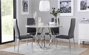 savoy round white marble and chrome dining table with 4 renzo grey chairs